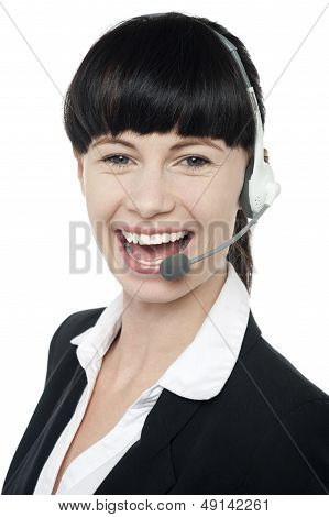 Close Up Portrait Of Customer Service Operator
