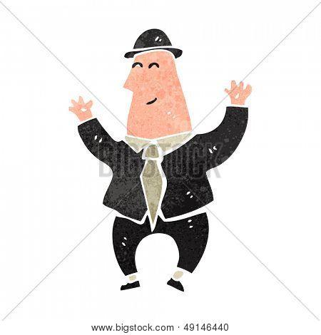 retro cartoon happy banker
