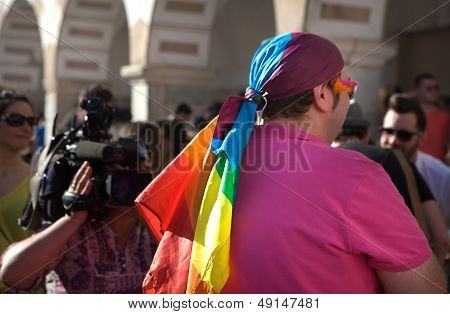 Gay Flag Dressed For The Occasion