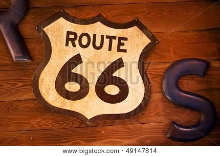 Old And Rusty Route 66 Sign