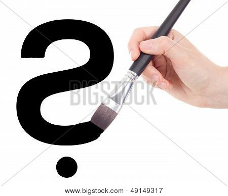 Hand With Brush Drawing Question Mark