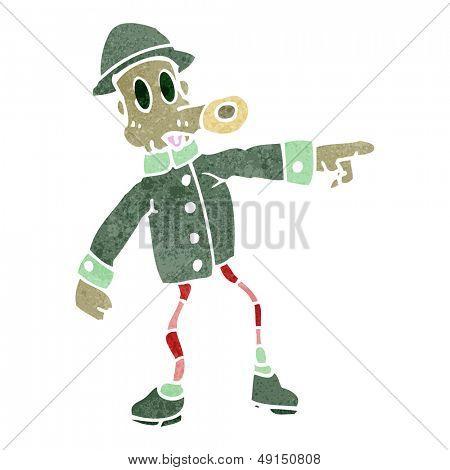 retro cartoon weird army guy