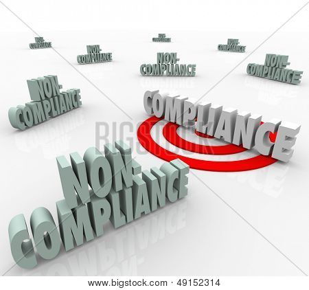 The word Compliance on a targeted bulls-eye vs other words Non-Comliant to illustrate the need to follow established guidelines and comply with regulation or laws