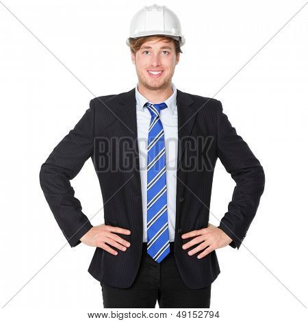 Engineer or architect business man in suit. Male businessman wearing white hard hat helmet smiling happy, proud and confident. Portrait of young male engineer in his 20s isolated on white background.