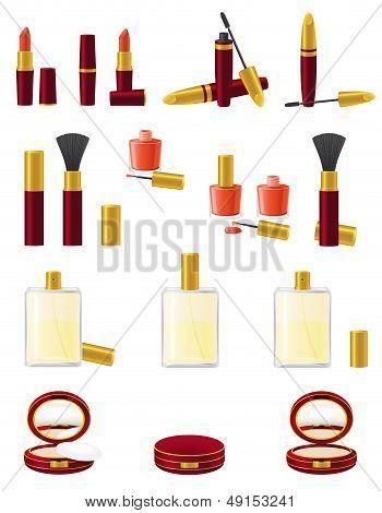 Set of Icons Cosmetics Vector Illustration