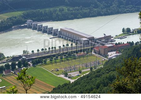 Sluice With Power Station In Donau