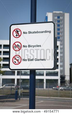 Urban Prohibitions Sign Uk