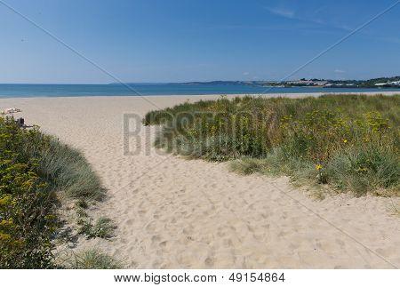Par beach Cornwall England near St Austell and Polkerris with blue sea and sky