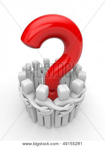 People with question. Teamwork metaphor