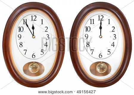 Twelve O Clock On Oval Dial Clock