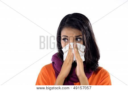 Young Woman Sneezing
