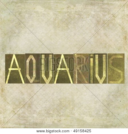 """Earthy textured background image and design element depicting the word """"Aquarius"""""""