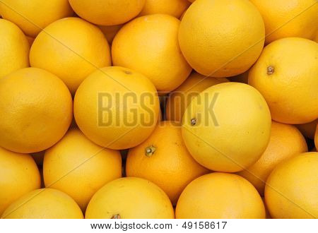 Ripe Grapefruit Yellow Sale At Vegetable Market