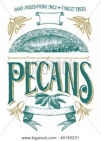 Woodcut Pecan Label