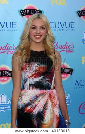 LOS ANGELES - AUG 11:  Peyton R List at the 2013 Teen Choice Awards at the Gibson Ampitheater Universal on August 11, 2013 in Los Angeles, CA
