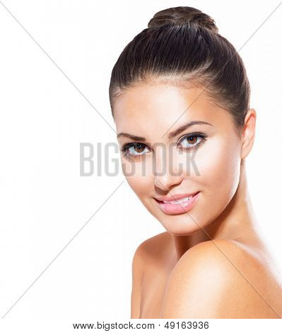 Beautiful Face of Young Woman with Clean Fresh Skin isolated on white. Beauty Portrait. Beautiful Spa Woman Smiling. Perfect Fresh Skin. Pure Beauty Model. Youth and Skin Care Concept