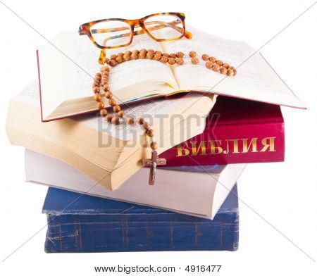 Open Bible With Rosary And Glasses Isolated