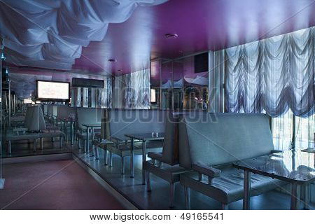 Interior of purple pub