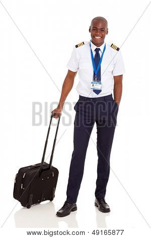 smiling african pilot with briefcase isolated on white