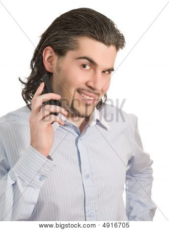 Young Handsome Male With Cell Phone In Hand Isolated White
