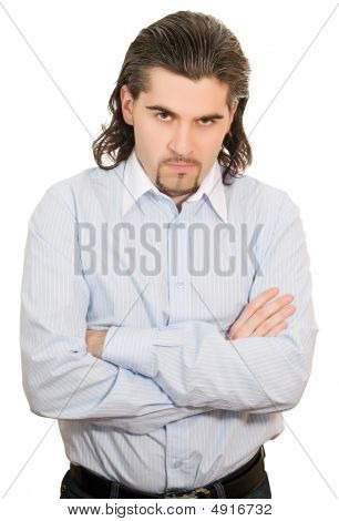 Young Handsome Unhappy Man With Hands Folded At Chest Isolated White