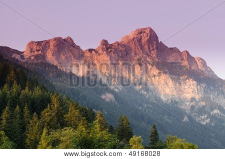 Mountain Rote Fluh In Afterglow