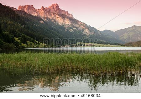 Lake And Mountain With Afterglow