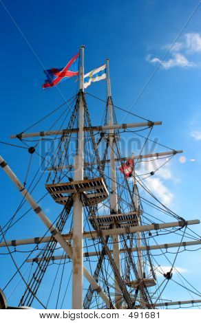 Jury-masts And Rope Of Sailing Ship