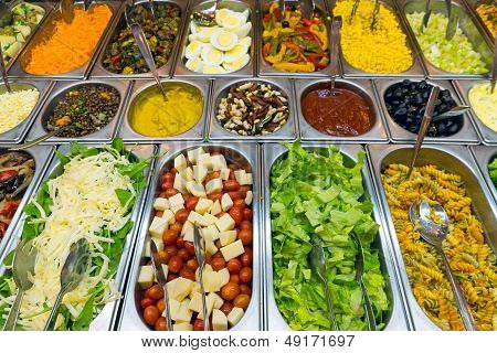 A variety of salads