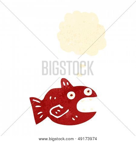 retro cartoon piranha with thought bubble