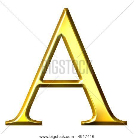 3D Golden Greek Letter Alpha