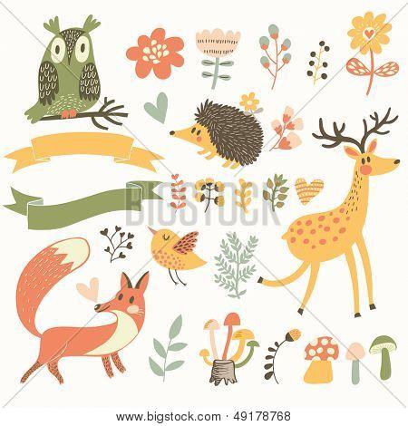 Bosque del norte situado en vector. Ciervos, erizo, búho, Ave y fox en estilo de dibujos animados. Cintas con lugar f