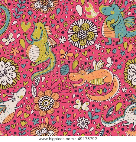 Bright fantastic background with flowers and cartoon dragons. Seamless pattern can be used for wallpapers, pattern fills, web page backgrounds,surface textures.