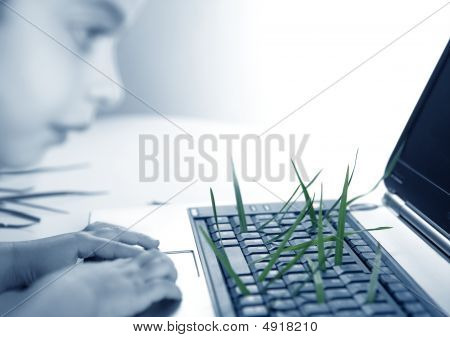 Grass Growing From Computer Keyboard, Girl