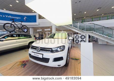 MOSCOW - JAN 11: Volkswagen Touareg in office of Volkswagen Center Varshavka on January 11, 2013, Moscow, Russia. The official dealer of Volkswagen Varshavka Center opened September 10, 2010