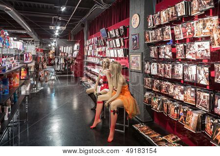MOSCOW - JAN 24: Two mannequin in underwear in Museum-Shop Point G on Novy Arbat on January 24, 2013 in Moscow, Russia.