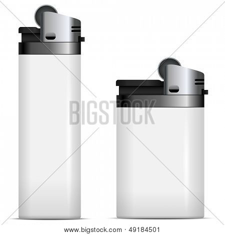 White blank lighters vector template isolated on white background.
