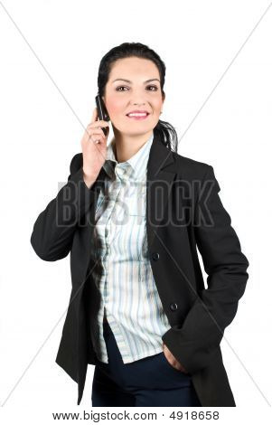 Happy Business Woman On Phone Mobile
