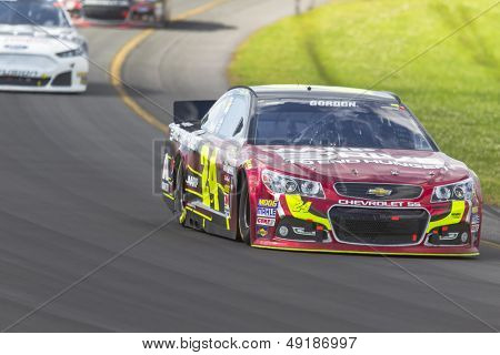 LOMG POND, PA - AUG 04, 2013:  Jeff Gordon (24) takes to the track for the GoBowling.com 400 race at the Pocono Raceway in Long Pond, PA on Aug 4, 2013.
