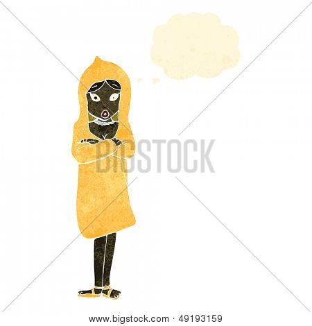 retro cartoon woman in raincoat
