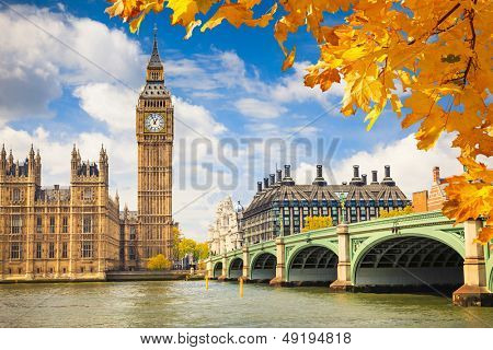 Big Ben with autumn leaves, London