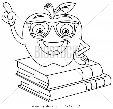 Outlined smart apple pointing with his finger