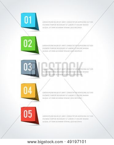 Infographics options design elements. Vector illustration. 3d banner numbers and icons website eps 10.