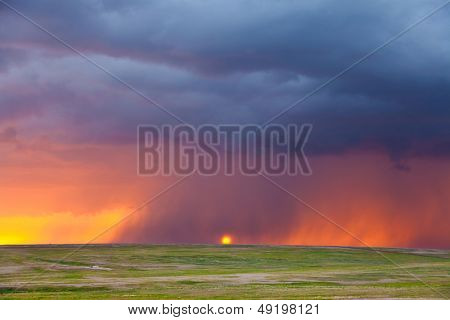 Heavy rain at sunset