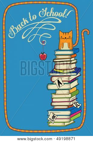 Back to School Poster - Hand drawn back-to-school poster with tabby kitten sitting on top of a stack of school textbooks