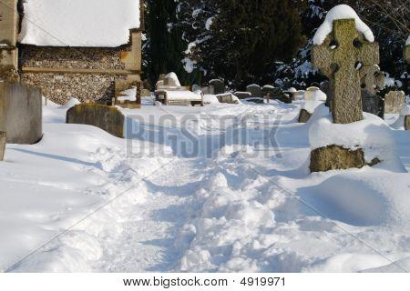 Cementerio Inglés bajo la nieve