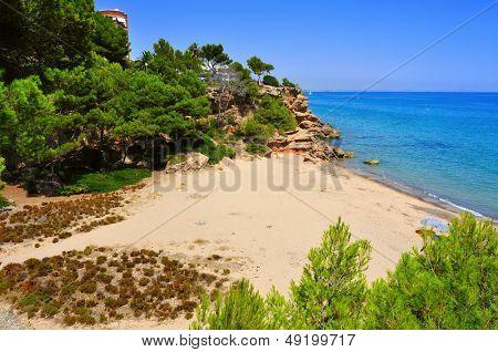 view of Cala dels Vienesos beach in Miami Playa, Mont-roig del Camp, Spain