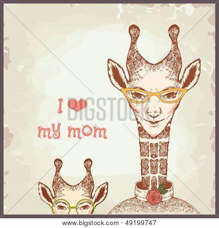 Happy mothers day cards vintage retro, giraffe