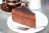 picture of torte  - Slice of Sacher torte a chocolate cake