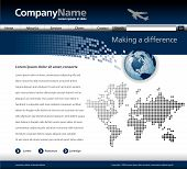 stock photo of web template  - Editable vector website template with a jet globe and map - JPG